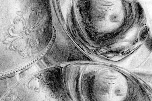 Zeichnung | Detail 17 (Drei Reflexionen des Portraits, Alu Deckeln)