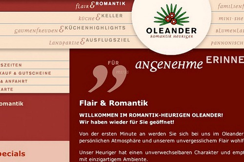 Oleaner Heuriger | Website | Start (Detail)