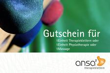 Therapieklettern | Gutschein vorne | Detail: Bild, Marke und Text