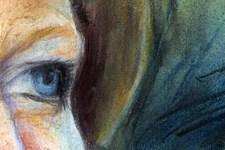 Portrait Birgit | Illustration | Pastellkreide | Augen (Detail 2)