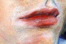 Portrait Birgit | Illustration | Pastellkreide | Lippen (Detail 3)