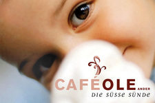 Café Ole | Postkarte | Detail: Bild und Marke inkl. Claim