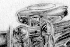 Selbstportrait | Zeichnung | Detail 5 (Flöte: Klappen und Deckel)