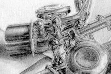 Zeichnung | Detail 6 (Flöte und Reflexion: Klappen und Deckel)