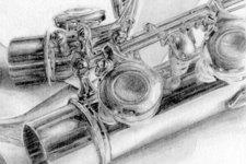 Selbstportrait | Zeichnung | Detail 7 (Flöte und Reflexion)