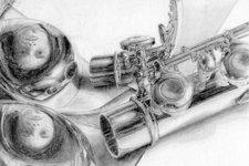 Zeichnung | Detail 8 (Flöte und Portrait Reflexionen)