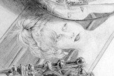 Zeichnung | Detail 11 (Foto von Birgit, Reflexion und Flöte)
