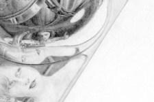 Zeichnung | Detail 14 (Reflexion des Portraits, Alu Deckel, Foto)