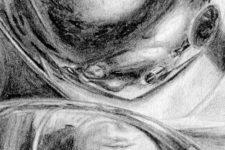 Zeichnung | Detail 16 (Kleinste Reflexionen des Portraits, Alu Deckeln)