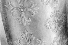 Zeichnung | Detail 23 (Viele Schwertlilien auf Zinnbecher)