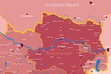 Kolping Österreich | Landkarte | Leuchttafel | Detail: Nordost