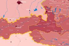 Kolping Österreich | Landkarte | Leuchttafel | Detail: Mitte
