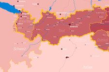 Kolping Österreich | Landkarte | Leuchttafel | Detail: West