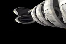 3D Modell eines Raumschiffs   Seitenansicht C (Detail von unten)