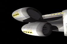 3D Modell eines Raumschiffs   Seitenansicht D (Detail von unten)